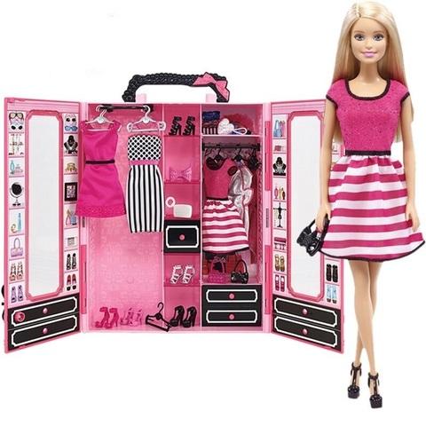 Розовый шкаф Barbie с куклой