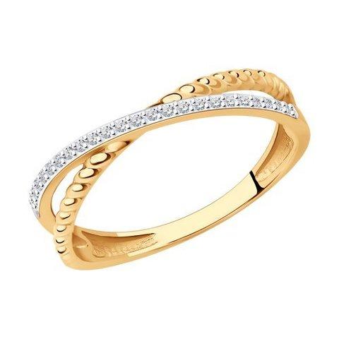 1012229 - Кольцо -крест  из комбинированного золота с бриллиантами