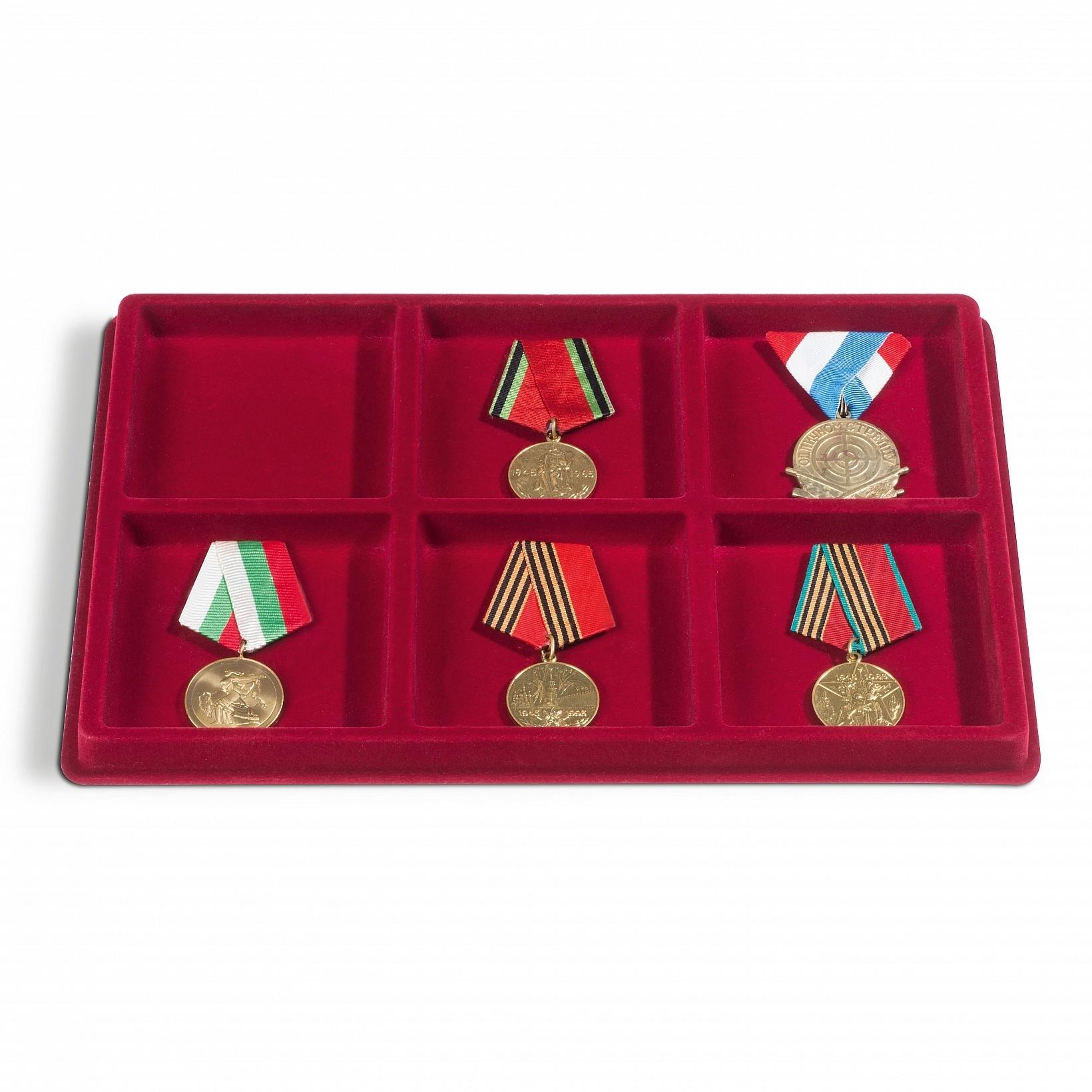 Флокированный лоток для орденов и медалей на 6 прямоугольных ячеек
