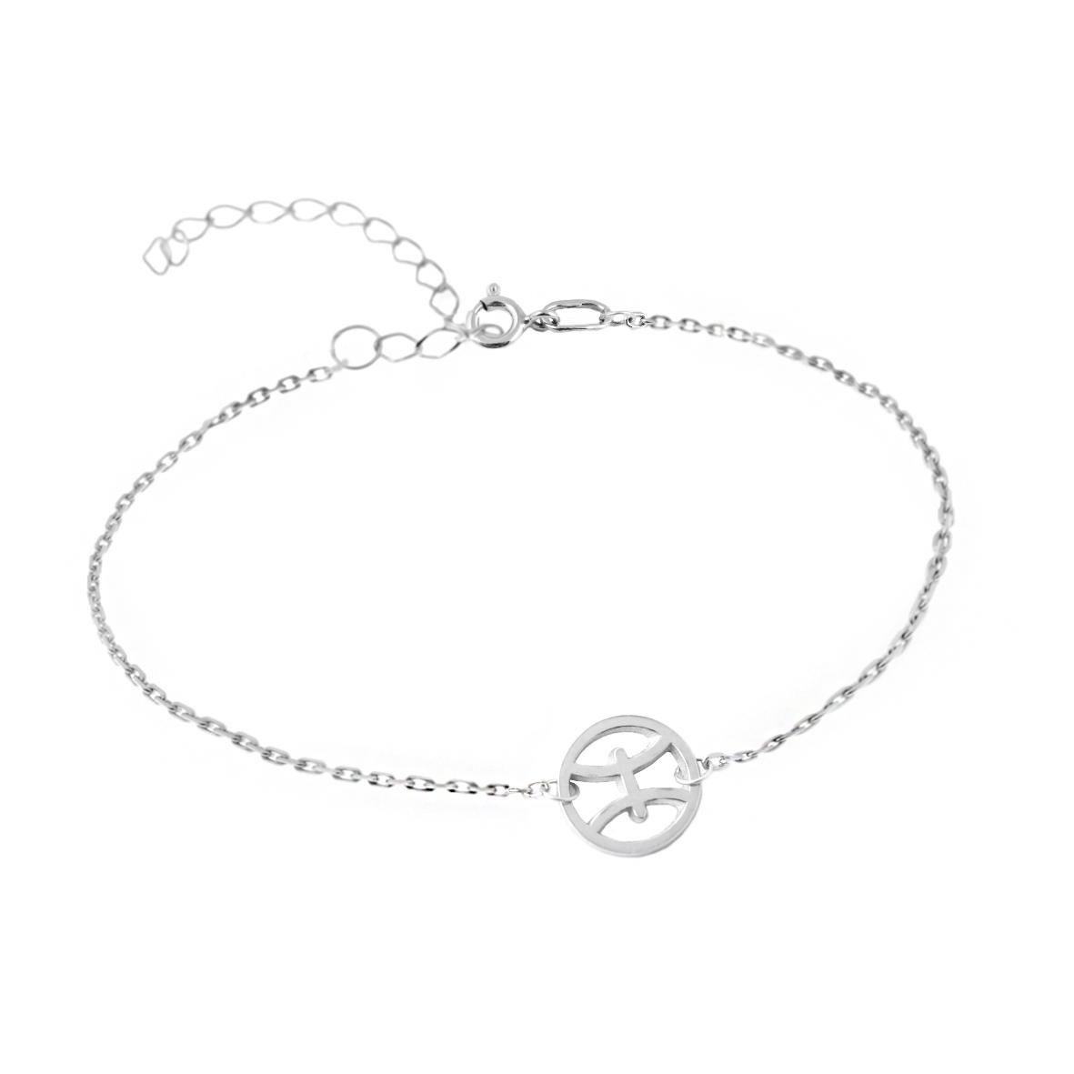 Серебряный браслет на цепочке знак зодиака рыбы