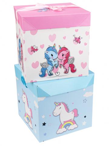 Коробка складная Волшебный единорог розовая