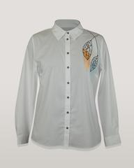 Блузка Kzara 2904 рубашка вышивка листья