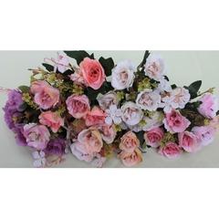 Розы искусственные пионовидные воздушные, букет с добавкой, 33 см.