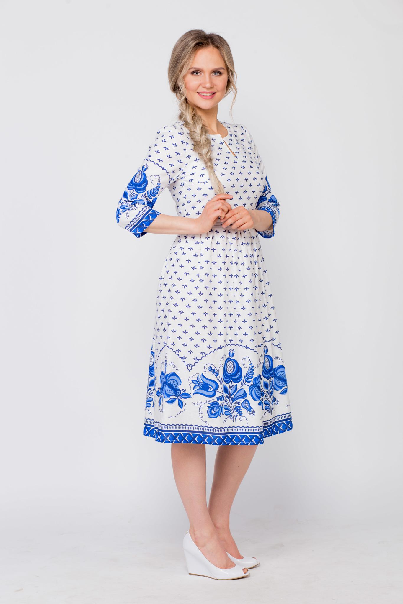 Платье Сказочная гжель вид сбоку