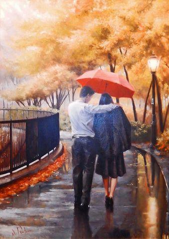 Картина раскраска по номерам 50x65 Влюбленные под красным зонтом