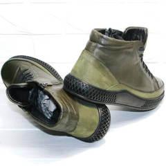 Модные мужские ботинки демисезонные термо Luciano Bellini BC2803 TL Khaki.