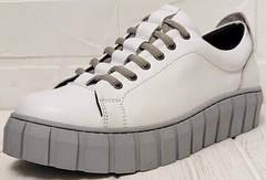 Женские кожаные кроссовки кеды на высокой платформе Guero G146 508 04 White Gray.