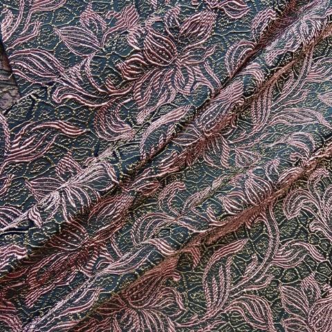 Ткань жаккард цветы розовые на черном фоне 3054