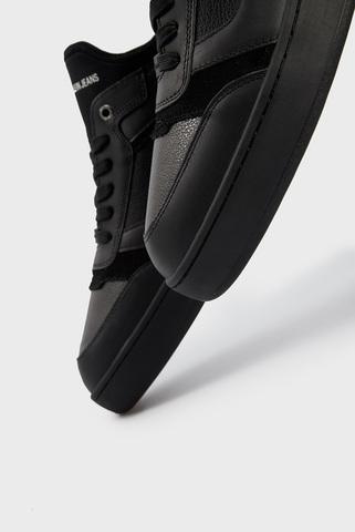 Мужские черные кожаные сникеры Calvin Klein Jeans