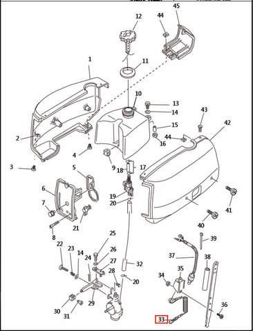 Трос аварийной остановки  для лодочного мотора T2,5 SEA-PRO (1-33)