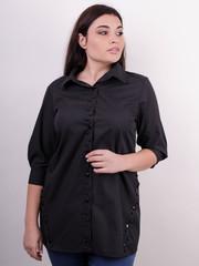 Дакота. Оригінальна жіноча сорочка великих розмірів. Чорний.
