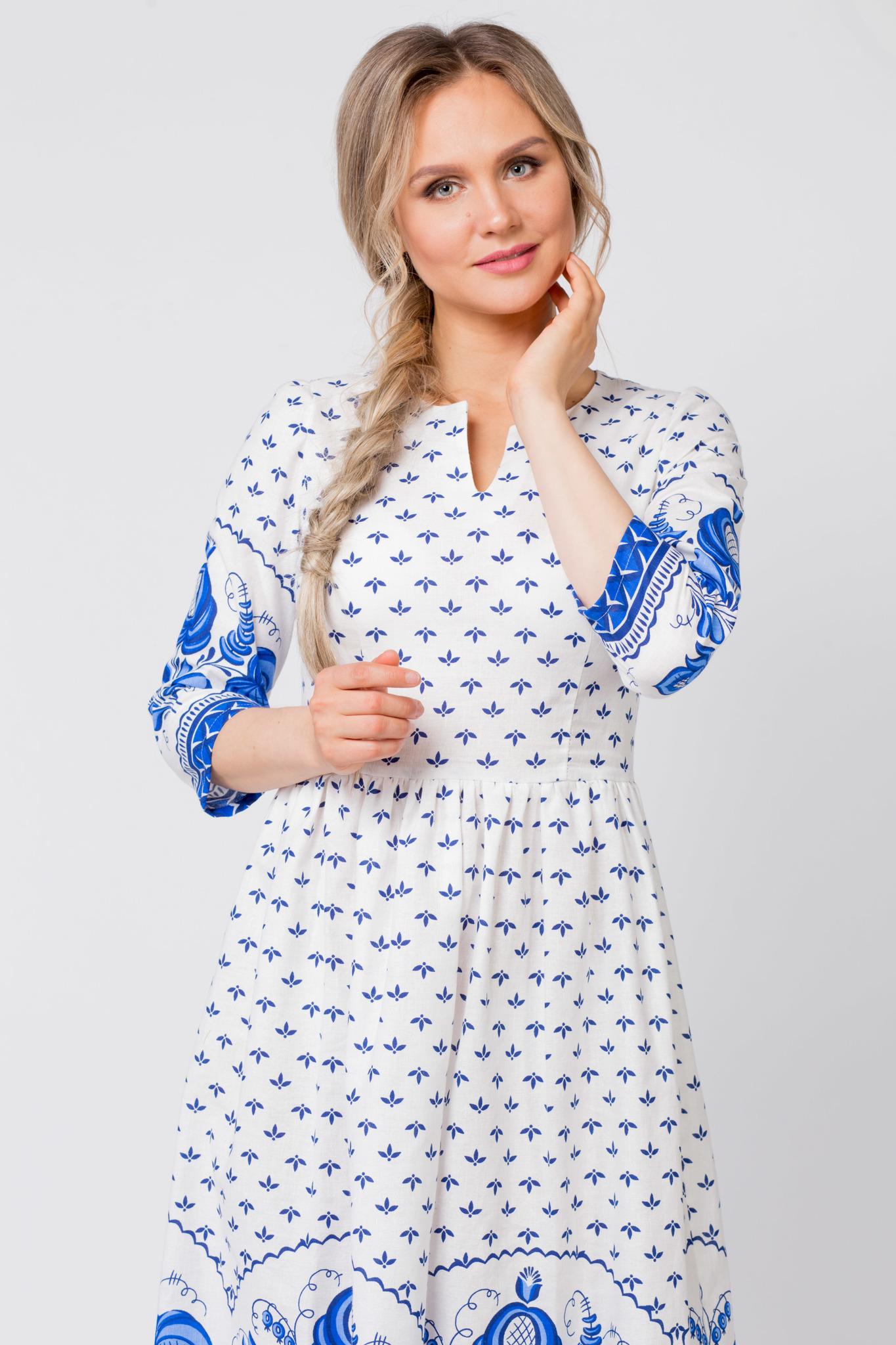 Платье Сказочная гжель приближенный фрагмент