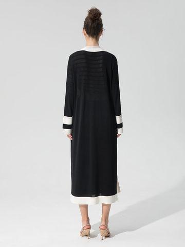 Женский кардиган черного цвета с карманами и контрастными вставками - фото 4