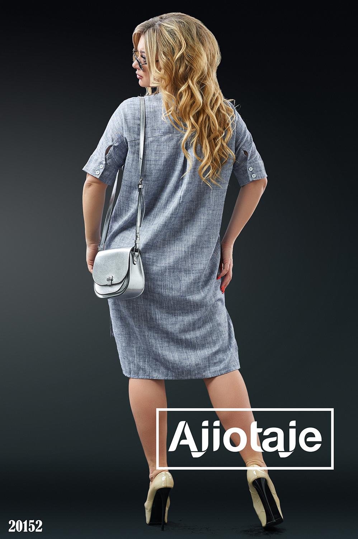 Льняное платье рубашка с асимметрией