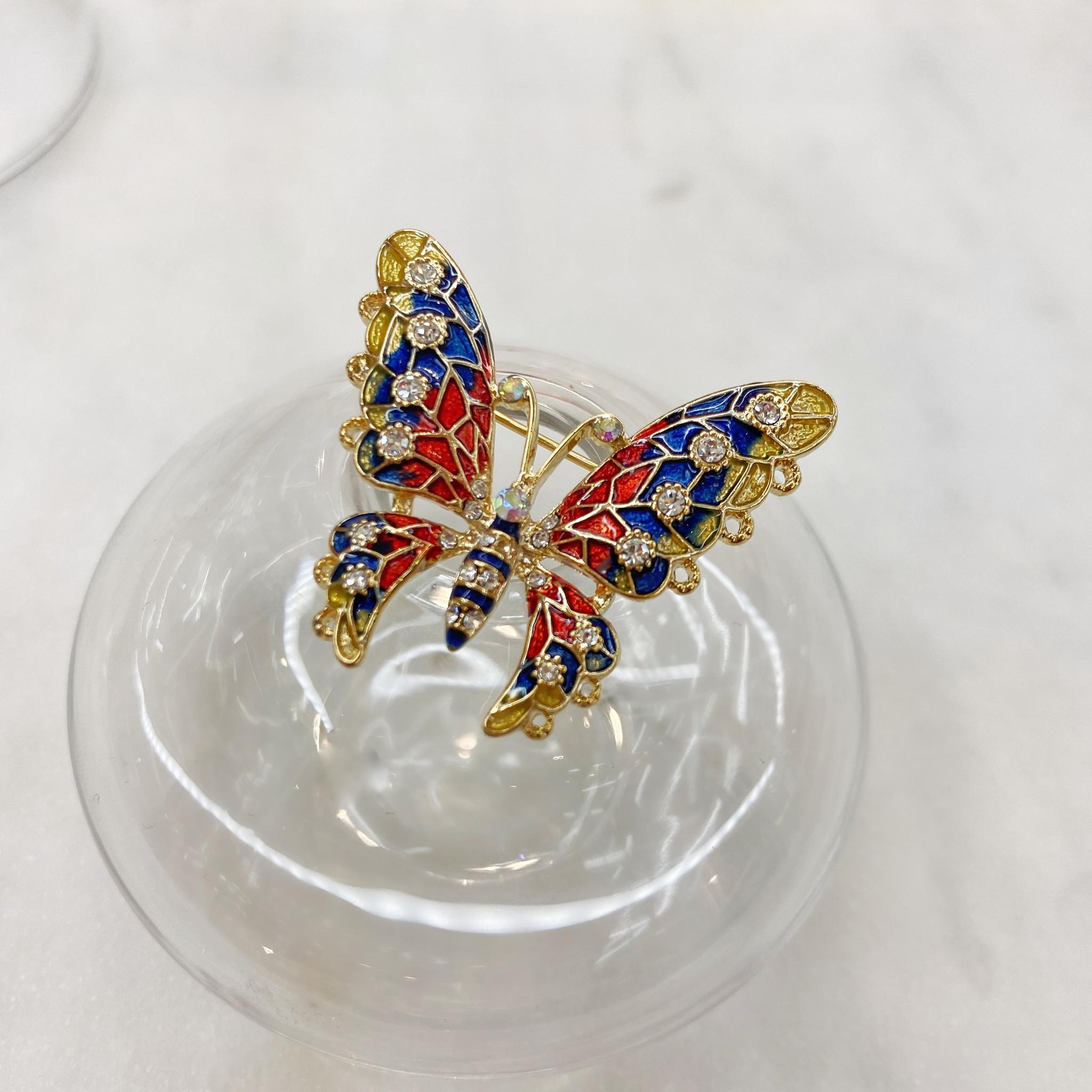Брошь Бабочка Мозаичная малая синий красный