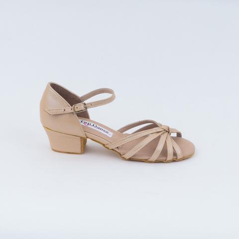Рейтинговые туфли для девочки из бежевой кожи