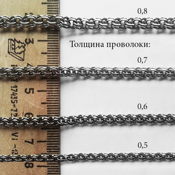 Серебряная цепочка бисмарк 0,5 / 70см