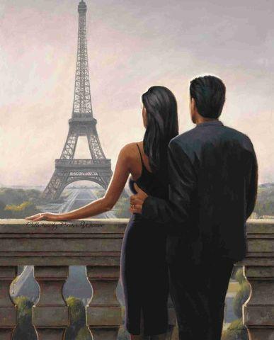 Картина раскраска по номерам 50x65 Влюбленный любуются Эйфелевой башней
