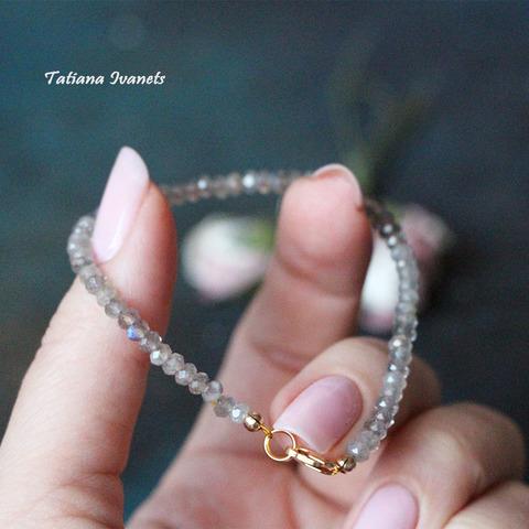 Тонкий браслет из лабрадорита