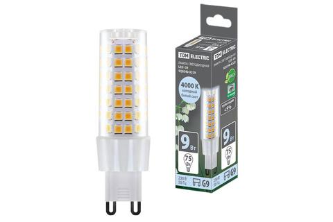 Лампа светодиодная G9-9 Вт-230 В-4000 К, SMD, 21,5x70,5 мм TDM