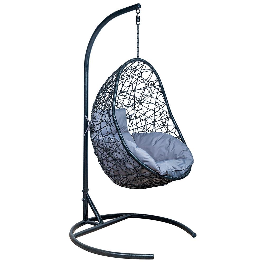 Подвесные кресла Подвесное кресло LESET SAONA leset_Saona_podushka_Svetlo-seraja_karkas_Chernyj.jpg