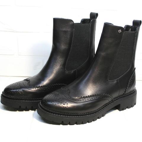 Кожаные ботинки челси женские. Высокие ботинки женские на низком каблуке Jina Leather Black размер 38 и 40