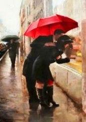 Картина раскраска по номерам 50x65 Влюбленные у витрины под красным зонтом