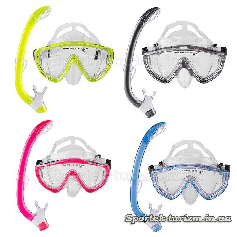 Цвета подросткового комплекта для подводного плавания маска+трубка Dolvor Junior M171P+SN59P