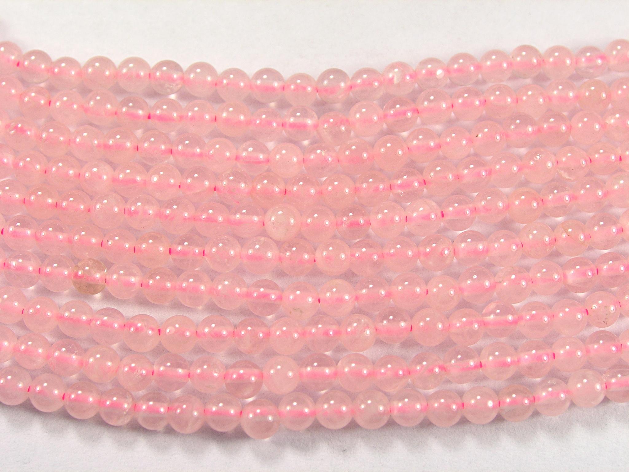 Нить Бисера из кварца розового, шар гладкий 3мм