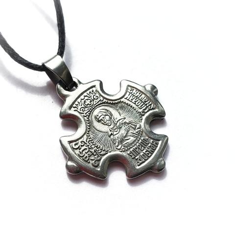 Нательный крест с иконой святой Аполлинарии (Полины) с серебрением