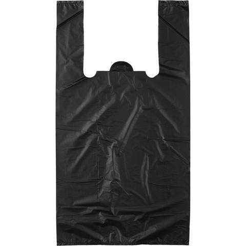 Пакет-майка Знак Качества ПНД усиленный черный 28 мкм (30+18x56 см, 100 штук в упаковке)