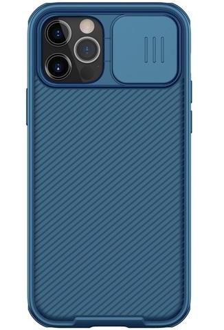 Чехол синего цвета на iPhone 12 и 12 Pro от Nillkin серии CamShield Pro Case с защитной шторкой для задней камеры