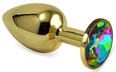 Золотистая анальная пробка с разноцветным кристаллом - 5,5 см.