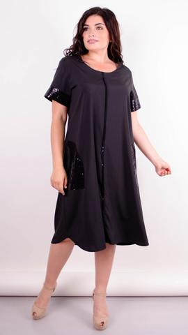 Стефанія. Святкова сукня великих розмірів. Чорний+чорний.