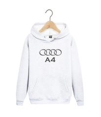 Толстовка белая с капюшоном (худи, кенгуру) и принтом Aуди А4 (Audi A4) 001