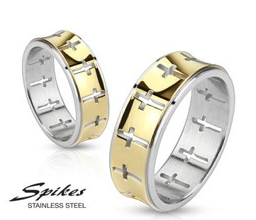 R-M2392-7 Мужское кольцо «Spikes» из стали с крестами