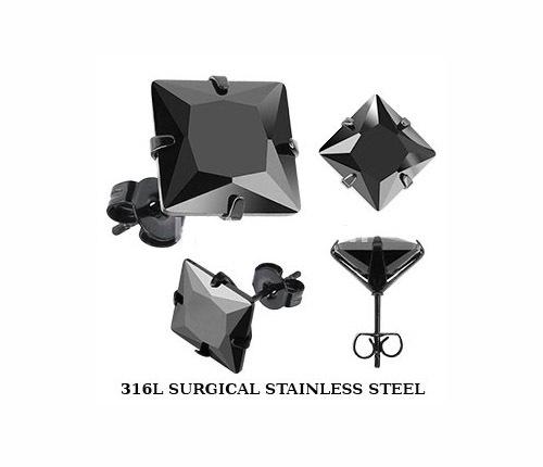 SESQK-6K Крупные мужские серьги «Spikes» из стали с черным камнем (6 мм)