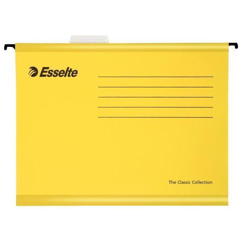 Подвесная папка Esselte Plus Foolscap А4+ до 250 листов желтая (25 штук в упаковке)
