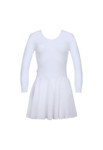 Купальник гимнастический с юбкой из сетки ALIERA  арт.Г 3.03 (белый)