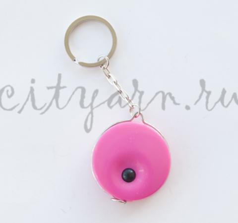 Рулетка-брелок с кнопкой, неоново-розовая, 140 см