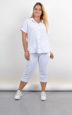 Ліліт. Жіночий костюм великого розміру на літо. Білий.