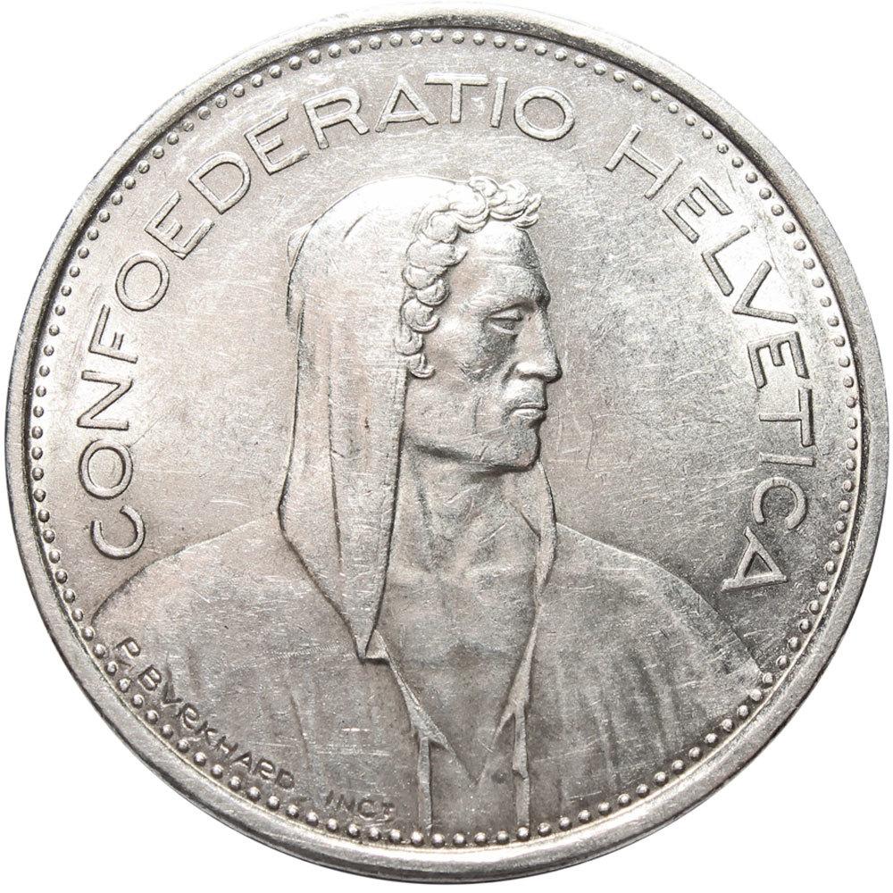 5 франков. Швейцария. Серебро. 1966 год. XF-AU