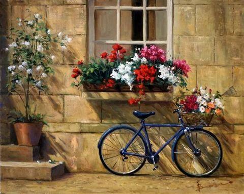 Картина раскраска по номерам 50x65 Велосипед с цветами у дома