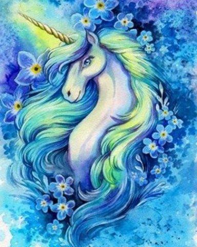 Картина раскраска по номерам 50x65 Единорог в голубых цветах (арт. RA3616)