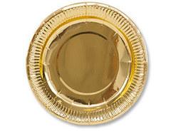 Тарелка фольгированная Золото / 23см, 6 шт.