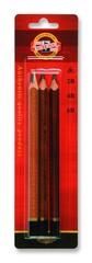 Карандаши чернографитные jumbo TRIOGRAPH 1833, 2B-6B, 3шт, блистер