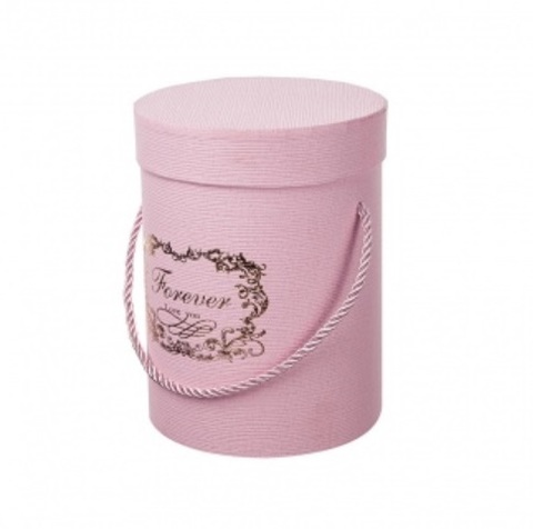 Коробка подарочная круглая, D14xH18,5см, цвет:розовый