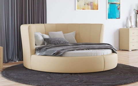 Круглая кровать Luna Экокожа Бежевая