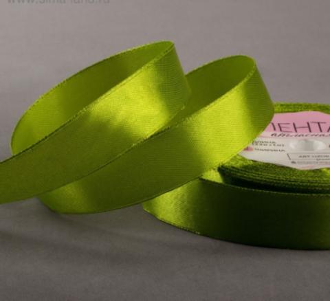 Лента атласная цвет зелёный,20 мм*23±1м