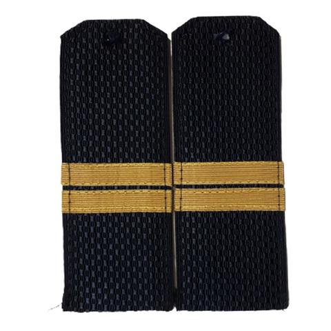 Погоны синие мл.сержант с латунным галуном (пог. лента, на пластике)